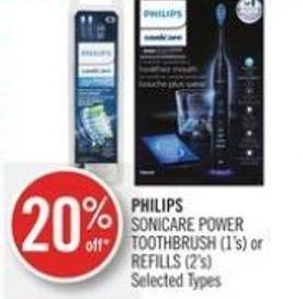 Philips Sonicare Power Toothbrush (1's) or Refills (2's)