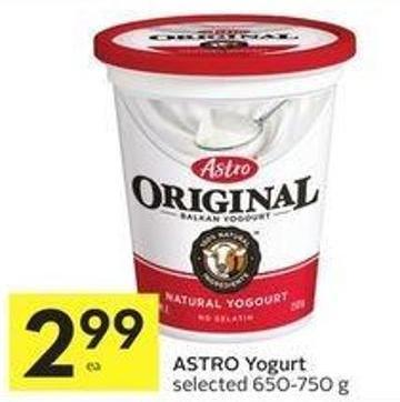 Astro Yogurt Selected 650-750 g