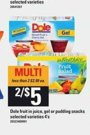 Dole Fruit In Juice - Gel Or Pudding Snacks - 4's