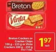 Dare Breton Crackers or Cracker Chips 100 g - 255 g or Vinta Crackers 200 g - 250 g