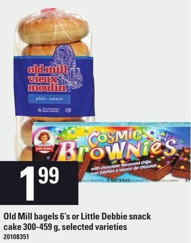 Old Mill Bagels 6's Or Little Debbie Snack Cake 300-459 g