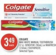 Colgate Max White Manual Toothbrush (1's) - Sensitive (90ml) or Maxfresh (150ml) Toothpaste