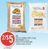 PC Kettle Cooked Chips (220g) - Microwave (3's) or Ready To Eat Popcorn