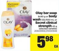 Olay Bar Soap 8x90 G Or Body Wash 532/650 Ml Or Secret Clinical Strength 45 G