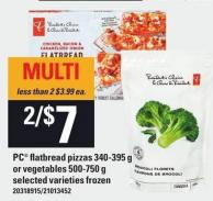 PC Flatbread Pizzas 340-395 G Or Vegetables 500-750 G