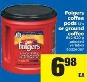 Folgers Coffee PODS - 12's Or Ground Coffee - 642-920 G