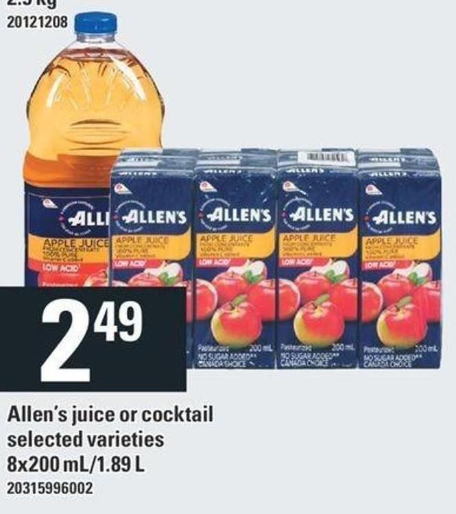 Allen's Juice Or Cocktail - 8x200 Ml/1.89 L