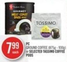 PC Ground Coffee or Selected Tassimo Coffee PODS