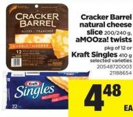 Cracker Barrel Natural Cheese Slice 200/240 G - Amooza! Twists Pkg Of 12 Or Kraft Singles 410 G