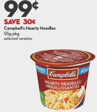 Campbell's Hearty Noodles 55g Pkg