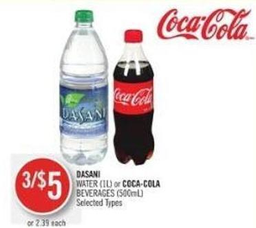 Dasani Water (1l) or Coca-cola Beverages (500ml)