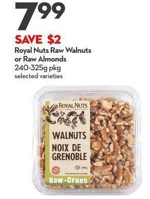 Royal Nuts Raw Walnuts  or Raw Almonds 240-325g Pkg