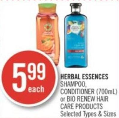 Herbal Essences Shampoo - Conditioner (700ml) or Bio:renew Hair Care Products