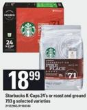 Starbucks K-cups - 24's Or Roast And Ground - 793 G
