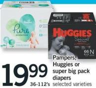 Pampers - Huggies Or Super Big Pack Diapers - 36-112's