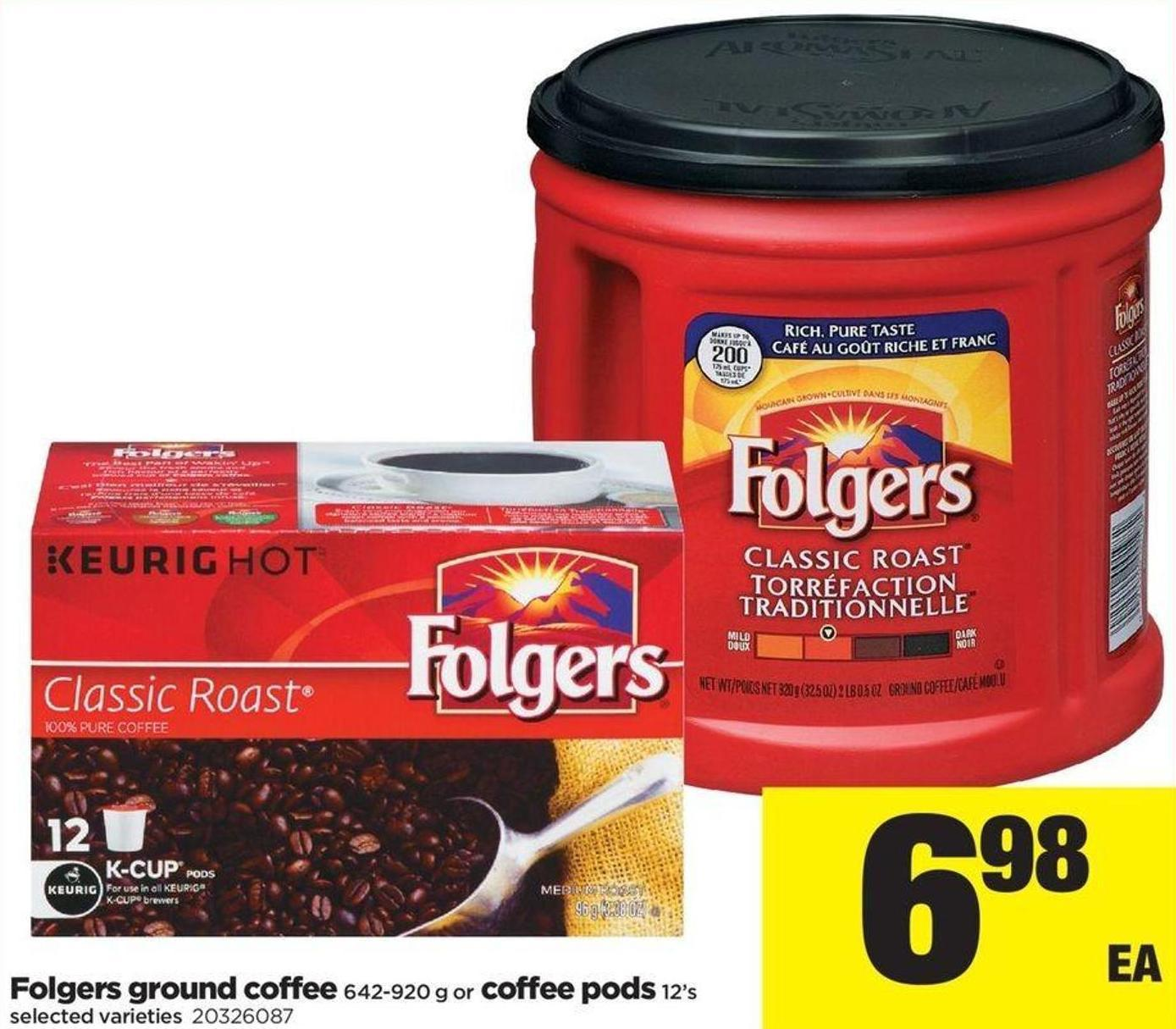 Folgers Ground Coffee - 642-920 G Or Coffee PODS - 12's