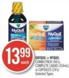 Dayquil or Nyquil Combo Pack (48's) - Complete Liquid (354ml) or Capsules (24's)