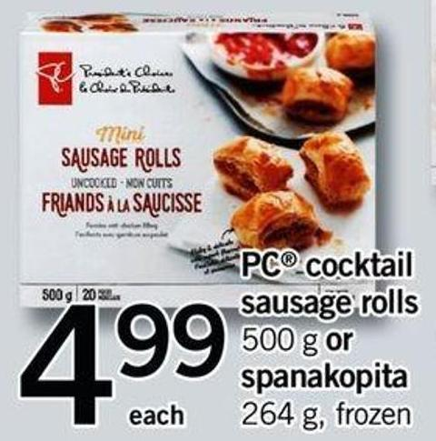 PC Cocktail Sausage Rolls - 500 G Or Spanakopita - 264 G
