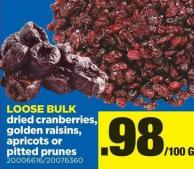 Dried Cranberries - Golden Raisins - Apricots Or Pitted Prunes