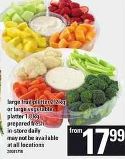 Large Fruit Platter - 2.2 Kg Or Large Vegetable Platter - 1.8 Kg