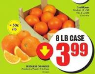 Seedless Oranges Product of Spain 8 Lb Case