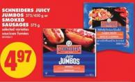 Schneiders Juicy Jumbos 375/450 g or Smoked Sausages 375 g