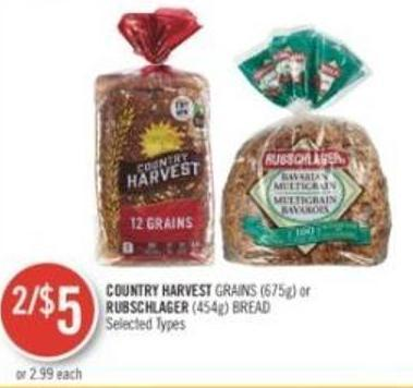 Country Harvest Grains (675g) or Rubschlager (454g) Bread