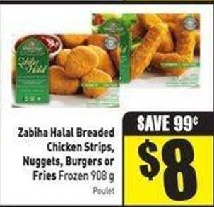 Zabiha Halal Breaded Chicken Strips - Nuggets - Burgers or Fries Frozen 908 g