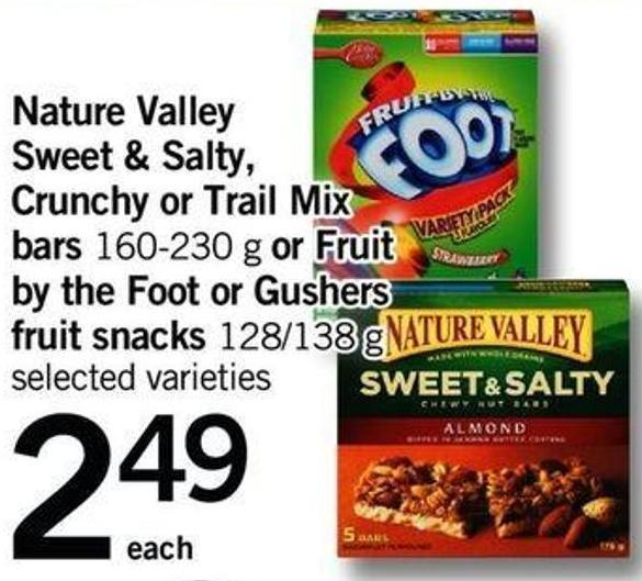 Nature Valley Sweet & Salty - Crunchy Or Trail Mix Bars - 160-230 G Or Fruit By The Foot Or Gushers Fruit Snacks - 128/138 G
