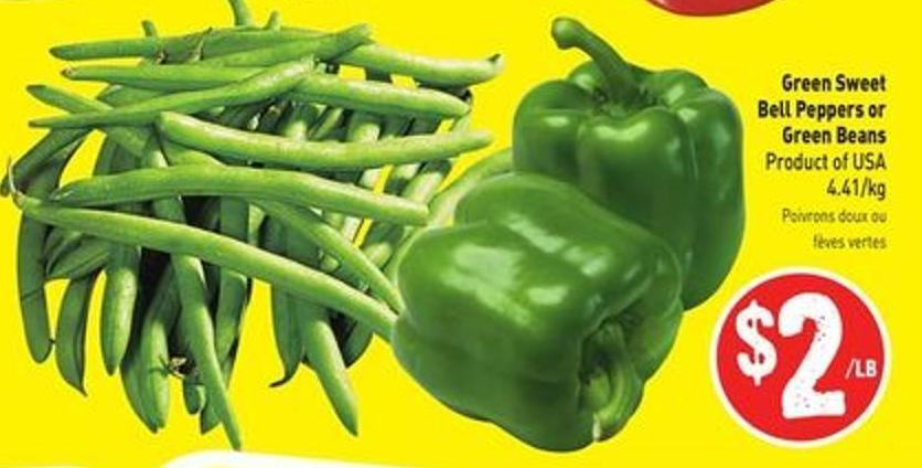 Green Sweet Bell Peppers or Green Beans Product of USA $4.41/kg