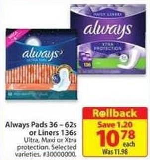 Always Pads 36-62s or Liners 136s