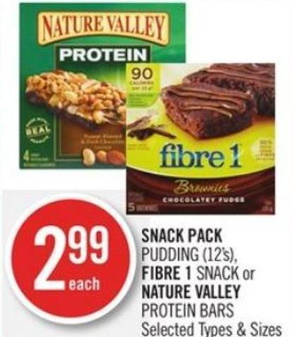 Snack Pack Pudding (12's) - Fibre 1 Snack or Nature Valley Protein Bars