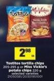 Tostitos Tortilla Chips - 205-295 g Or Miss Vickie's Potato Chips - 220 g