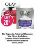 Olay Regenerist - Retinol Night Fragrance - Total Effects - Age Defying - Complete & Classic Or Cleansers