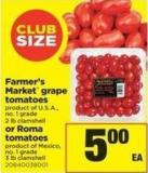 Farmer's Market Grape Tomatoes - 2 Lb Clamshell Or Roma Tomatoes - 3 Lb Clamshell