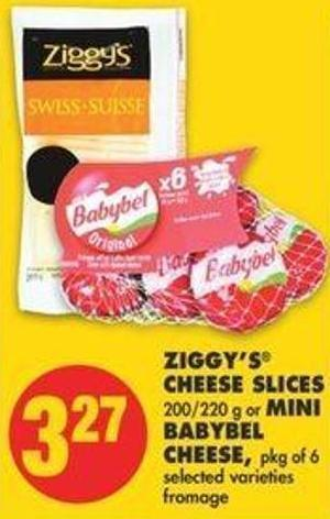 Ziggy's Cheese Slices 200/220 G Or Mini Babybel Cheese - Pkg Of 6