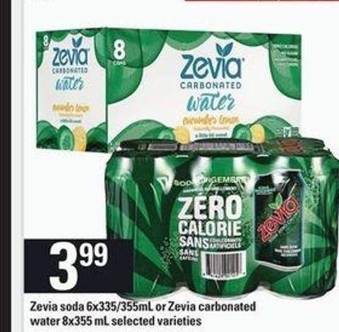 Zevia Soda - 6x335/355ml Or Zevia Carbonated Water - 8x355 Ml