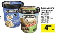 Ben & Jerry's Ice Cream Or Non-dairy - 473-500 mL