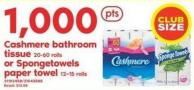 Cashmere Bathroom Tissue - 20-60 Rolls Or Spongetowels Paper Towel - 12=15 Rolls