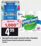 Spongetowels Paper Towels - 6 Rolls Or Scotties Facial Tissue - 6 Pack