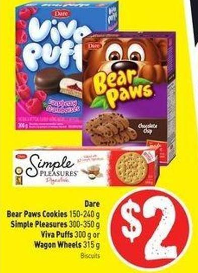 Dare Bear Paws Cookies 150-240 g Simple Pleasures 300-350 g Viva Puffs 300 g or Wagon Wheels 315 g