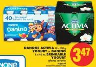 Danone Activia - 8 X 100 g Yogurt or Danino - 8 X 93 mL Drinkable Yogurt