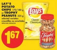 Lay's Potato Chips - 170/180 g or Trophy Peanuts - 325 g