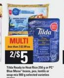 Tilda Ready To Heat Rice - 250 G Or PC Blue Menu Beans - Pea - Lentils Or Soup Mix - 900 g