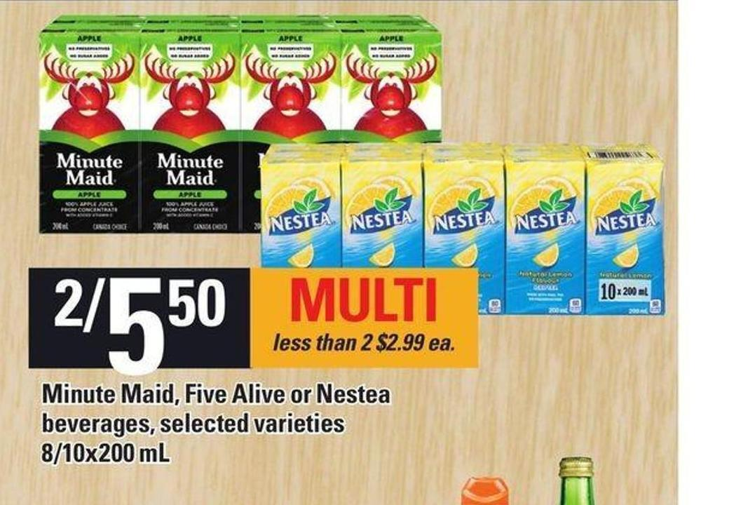 Minute Maid - Five Alive Or Nestea Beverages - 8/10x200 mL