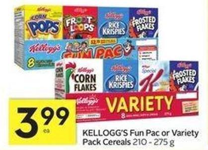Kellogg's Fun Pac or Variety Pack Cereals