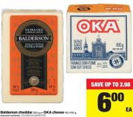 Balderson Cheddar 280 G Or Oka Cheese 160-190 G