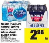 Nestlé Pure Life Natural Spring Water 24x500 Ml Or Allen's Fruit Punch Drink 21x200 Ml