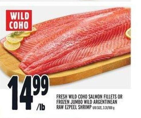 Fresh Wild Coho Salmon Fillets Or Frozen Jumbo Wild Argentinean Raw Ezpeel Shrimp