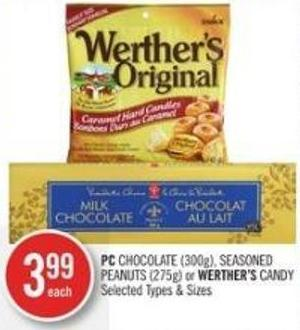 PC Chocolate (300g) - Seasoned Peanuts (275g) or Werther's Candy